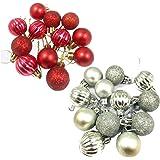 Evisha Small 24 pcs Silver and Red Balls Christmas Tree Decoration Ornaments