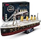 CubicFun Puzzle 3D LED Titanic Grande Barco Buque Embarcacion Kits de Construcción Modelo Juguetes para Adultos y Adolescente