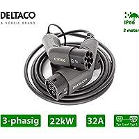 DELTACO Câble de Charge EV/Voiture électrique, Type 2 vers Type 2, Mode Charge 3, Triphasé, Intensité 32A, Puissance…