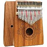 Piano à pouce Kalimba 17 touches avec instruction d'étude et marteau d'accord, Piano portable en bois africain Mbira Sanza po