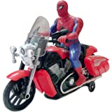 IndusBay® Bump and Go Spiderman Bike Toy , Battery Operated Light Sound Bike, Avenger Spider Man Musical Motorcycle…