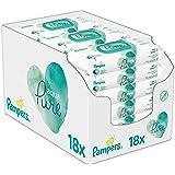 Pampers Babydoekjes Multipack, Aqua Pure, 1260 Count (18 x 70), Baby Essentials voor pasgeborenen, gemaakt van biologisch kat