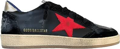 Golden Goose Scarpe Sneakers Uomo Vintage Ball Star 90208 Nero-Rosso