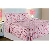 haus & kinder Summer Vintage Romance, 100% Cotton Double Bedsheet with 2 Pillow Covers, 144 Thread Count (Baby Pink)