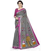 SOURBH Women's Pure Cotton Saree With Unstiched Blouse Piece