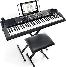 Alesis Melody 61 MKII-Tragbares Keyboard mit 61 Tasten und eingebauten Lautsprechern, Kopfhörern, Mikrofon, Klavierständer, Notenständer und Hocker