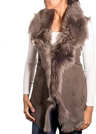 A to Z Leather Donna Grigio Pelle Scamosciata con Grey Shearling Pelliccia Cascata Gilet/Gilet (Maniche Body Warmer)
