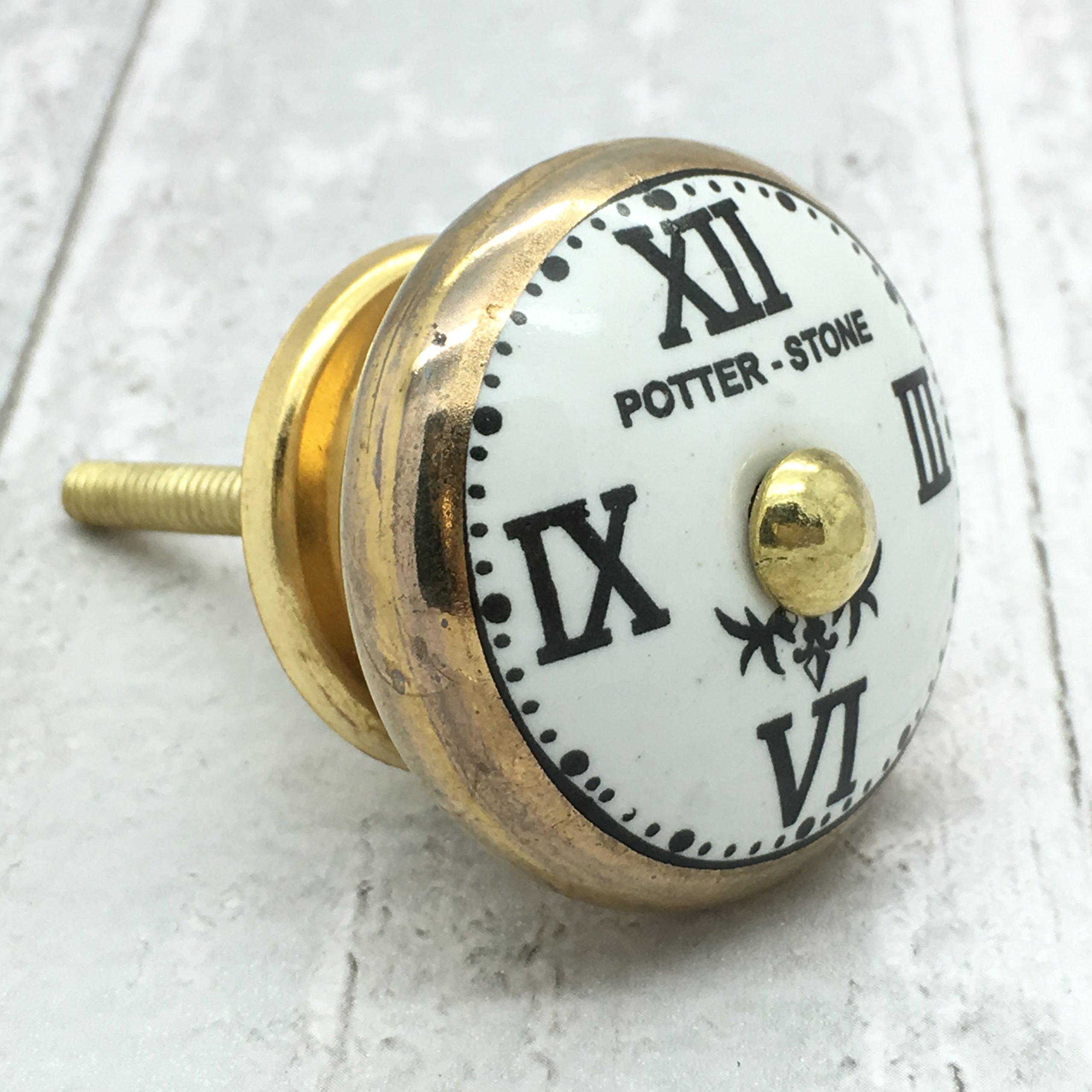Vintage Potterstone orologio oro manopola ceramica mobili armadio cassetto porta shabby chic Pull 45