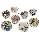 knoa - Tiradores de cerámica para muebles y cajones de estilo shabby chic, flores y pájaros (juego de 8)
