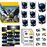 Batman Birthday Party Supplies Favor Bundle Pack With Kids Masks, Treat Bags, Bracelets and Tattoos for 8 Guests