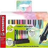 Evidenziatore Ecosostenibile - STABILO GREEN BOSS Pastel Desk-Set - 8 Colori assortiti 4 Neon + 4 Pastel