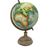 Globeskart Educational/Antique Globe with Brass Antique Arc and Wooden Base / World Globe / Home Decor / Office Decor / Gift Item / 8 inches (Sea Green Multicolour)