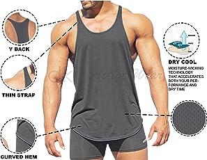 dk Active Wear Bodybuilding Tank Top, Stringer Vest, Gym Vest - Grey - Dri Cool