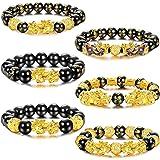 Adramata 6 Piezas Feng Shui Pi Xiu Pulseras de Buena Suerte para Hombres y Mujeres Negro Cuenta de Mantra de Obsidiana Atraer