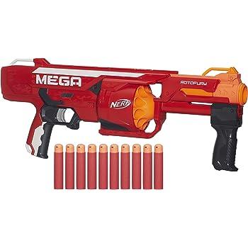 Hasbro Nerf Nerf B1269EU4 - Arma Giocattolo Mega RotoFury Blaster, Arancione/Rosso