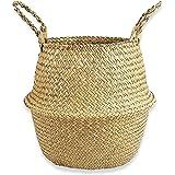 N/B Paniers en Jonc de Mer Tressé Pliable avec Poignée Panier Osier pour Jouets Linge Pique-Nique Pot de Plantes Sac de Plage