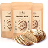 SlimBack Lower Carbb Landbrood, naturel, verpakking van 3 stuks, brood, bakmix zonder graan, voor ca. 1,4 kg brood, extra goe