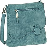 Ledershop24 Geschenkset - Handtasche Schultertasche Umhängetasche Wildleder-Imitat Used Look mit Riegelverschluss Farbe…