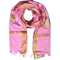 YOUTHQUAKE Women's Silk Printed Dupatta With Golden Border
