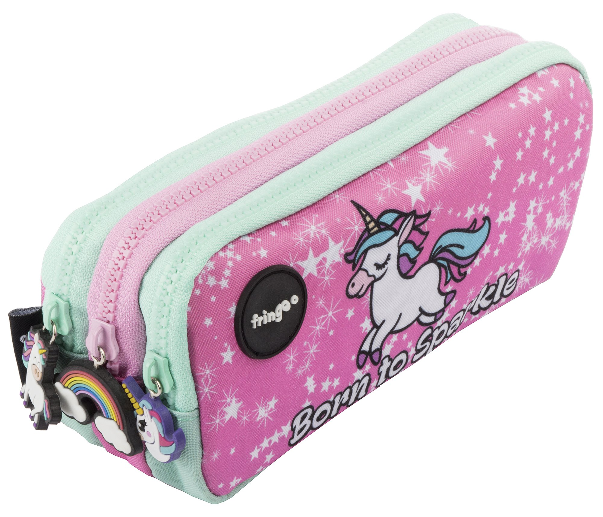 FRINGOO – Trousse à crayons avec 3 compartiments jolie et amusante – Pour enfant Large Born To Sparkle – 3 Compartments