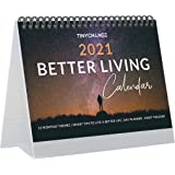 TINYCHANGE 2021 Better Living Desk Calendar planner with 12 Monthly Themes and 48 Tips for Happiness and Wellness; Small Flip