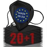21x FFP2 Maske schwarz CE zertifiziert [MADE IN EUROPE] - Geprüfte schwarze FFP2 Maske - 5 Lagen Maske FFP2 schwarz CE zertif