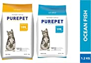 Purepet Cat Food Combo of Sea Food, 1.2 kg & Ocean Fish, 1.2 kg