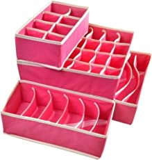 House of Quirk Set of 4 Foldable Storage Box Drawer Divider Organizer Closet Storage for Socks Bra Tie Scarfs - Pink