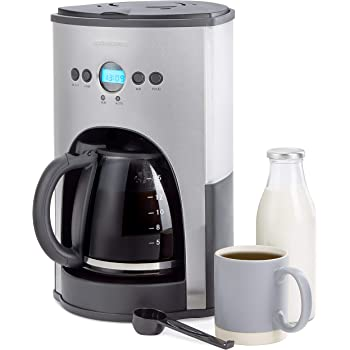 Andrew James Filter Coffee Maker with Timer | Programmable Automatic Drip Machine with Digital LED Display for Delay Start Timer & Keep Warm Functions | 1.8L / 15 Cup Carafe & Warming Plate | 1100w