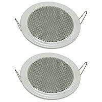 Lot de 2 haut-parleurs encastrables au plafond et au mur Ø 135 mm 60 W Grille de protection en métal Pinces de fixation…
