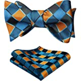 HISDERN Men's Check Handkerchief Jacquard Party Wedding Self Bow Tie Pocket Square Set