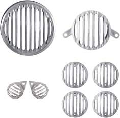 Autofy Plastic Grill for Royal Enfield Bullet Classic 350 and 500 (Chrome, FBABAGRILL0010) - Set of 8