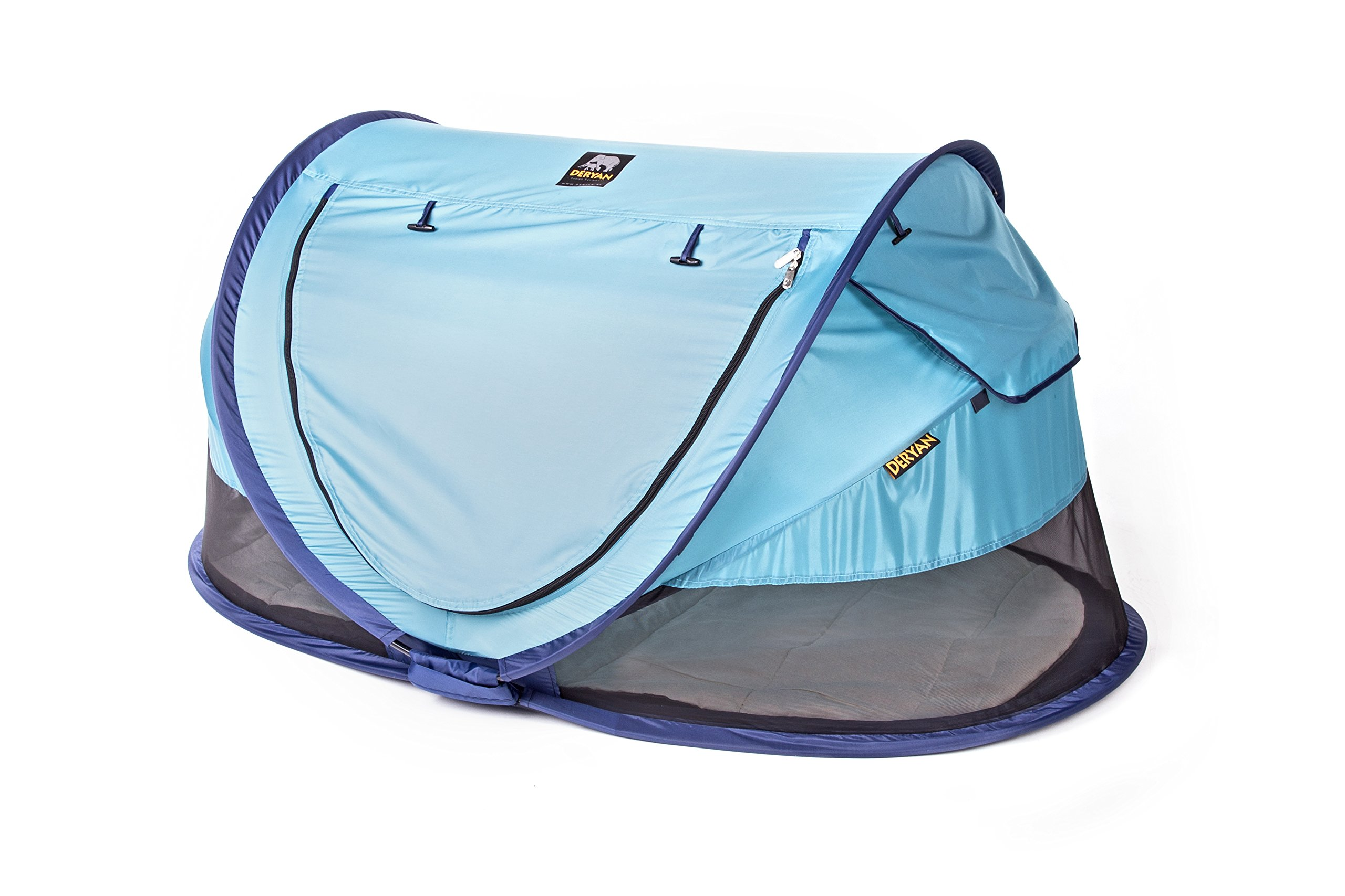 Travel Cot Peuter Luxe (Ocean) Deryan 50% UV Protection and flame retardant fabric Setup in 2 seconds and a anti-musquito net  3