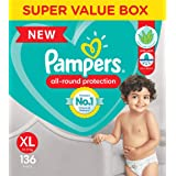 Pampers All round Protection Pants, Extra Large size baby diapers (XL) 136 Count, Anti Rash diapers, Lotion with Aloe Vera