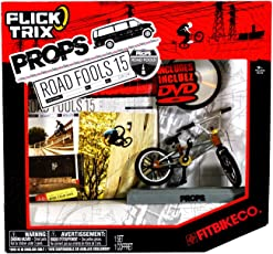 Spinmaster Flick Trix Fingerbike Real Bikes Unreal Tricks BMX Bicycle Miniature Set - FITBIKE CO. with Display Base and DVD Props Road Fools 15