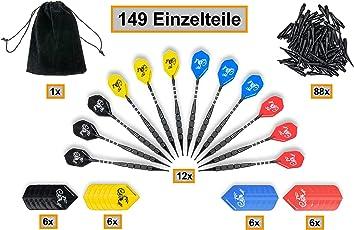 TK-Sports Dartpfeile 12 Stück Darts [18g/Stück](Internationaler Standard) 24+12 Flights 100 Spitzen Brass Darts Aluminum Shafts + Stoffbeutel