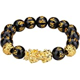 I-MART Feng Shui Pi Xiu, Pi Yao Citrine Crystal Bracelet, Attract Wealth and Good Luck (Black Obsidian Type A)