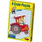 Haba 3900 - 6 Erste Puzzles Bauernhof, Puzzle mit 6 niedlichen Bauernhofmotiven für Kinder ab 2 Jahren, mit Holzfigur zum freien Spielen