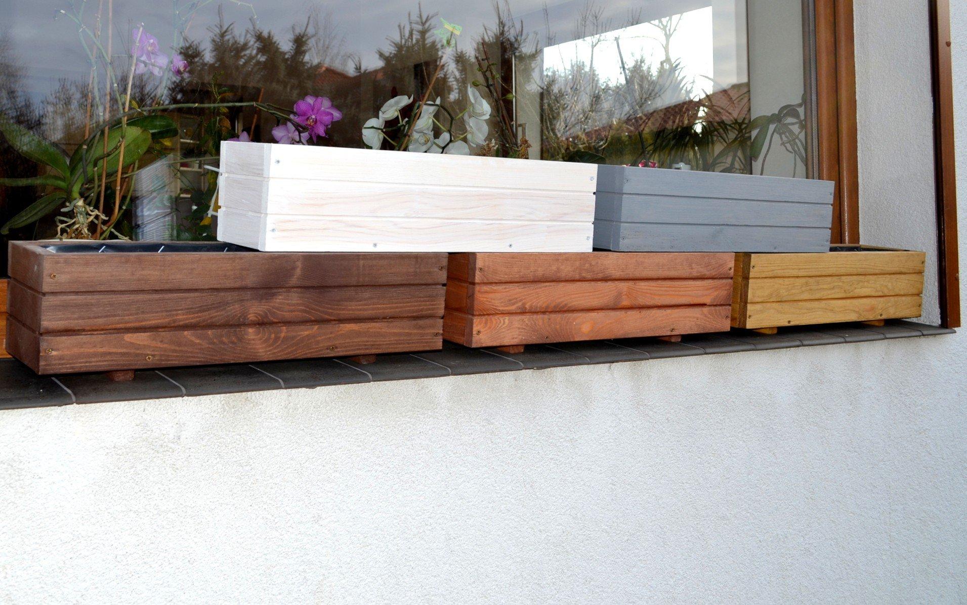 Nouveau bac à fleurs en bois tOP pot de fleurs pour jardin et terrasse montée d6 noix Länge 60cm