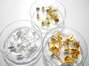 AM GOELX Stud Base and Earring Stoppers for Jewellery with Metal Finish, Small (Gold and Silver)