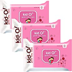 Kido Gentle Baby Wet Wipes with Aloe Vera, 15 cm x 20 cm, Pack of 3 (Kido Pink, 80 * 3=240 Count)