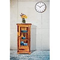 Kingwood Furniture Kitchen Crockery Cabinet with Single Drawer in Solid Sheesham Wood (Standard, Honey Finish)