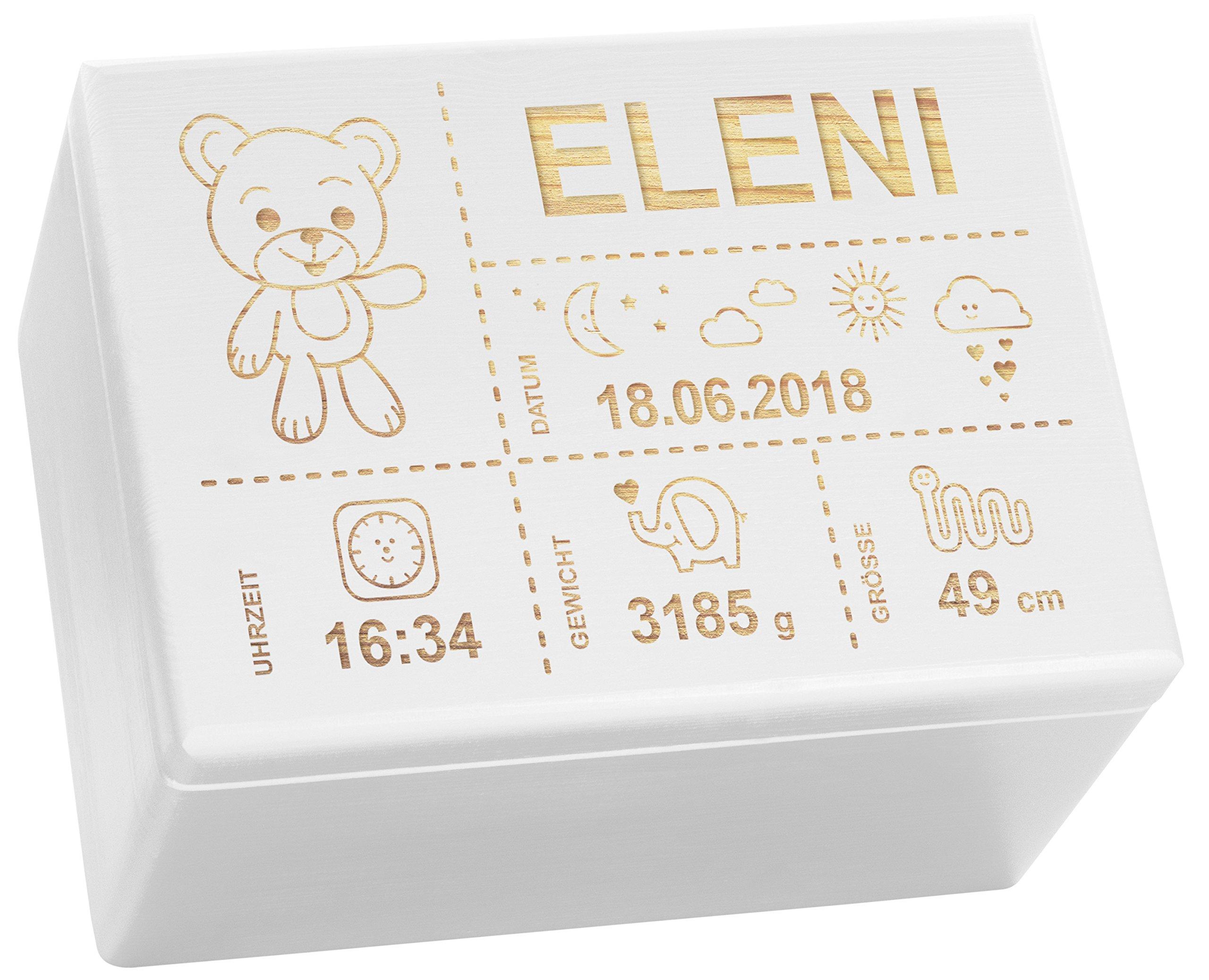 LAUBLUST Holzkiste mit Gravur - Personalisiert mit GEBURTSDATEN - Weiß, Größe XL - Teddybär Motiv - Erinnerungskiste als…