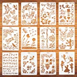12 stks Tekening Schilderij Kunst Stencil Templates - Sjablonen op hout en muren, Herbruikbare Plastic Stencils