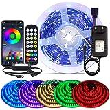 BIHRTC 5050 SMD 16.4ft RGB 150 LED Streifen Farbwechsel Led Lichterkette 5M RGB Flexible LED Bänder Strips mit APP Kontroller