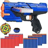 Bonbell Pistolet Enfant pour Fléchette Nerf, Jouet Pistolet Blaster de 12 Clip pour Garcon avec 60 Fléchettes et…