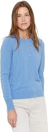 State Cashmere Donna 100% Puro Cashmere Cardigan con Bottoni A Manica Lunga Girocollo