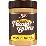 Alpino Classic Peanut Butter Smooth 400 G   Made with Roasted Peanuts   25% Protein   Non GMO   Gluten Free   Vegan