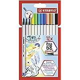 Pennarello Premium con punta a pennello per linee spesse e sottili - STABILO Pen 68 brush - Pack da 12 - con 12 colori assort