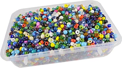 eshoppee 6/0, 4mm Multicolor Glass Seed Beads 200 gm (Approx 4000 Beads) for Jewellery, Art and Craft Making DIY kit. (Multicolor 200 gm)